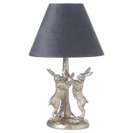 Antique Silver Marching Hares Lamp With Grey Velvet Shade